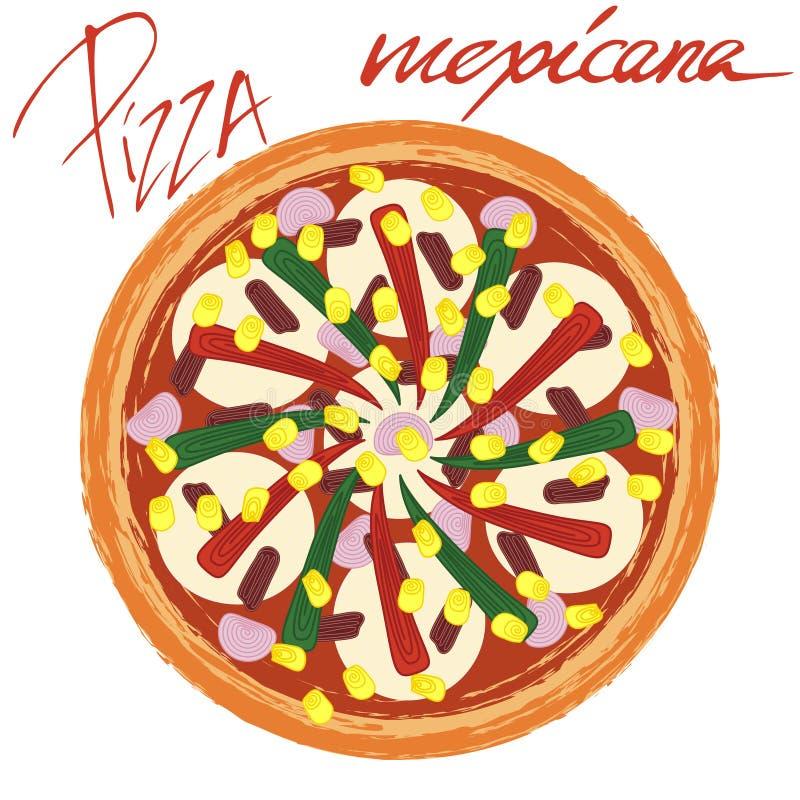 Pizza mexicana with handwritten caption. Pizza mexicana image on white background with handwritten caption. Vector illustration eps 10 stock illustration
