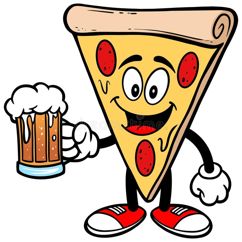 Pizza mit Bier vektor abbildung