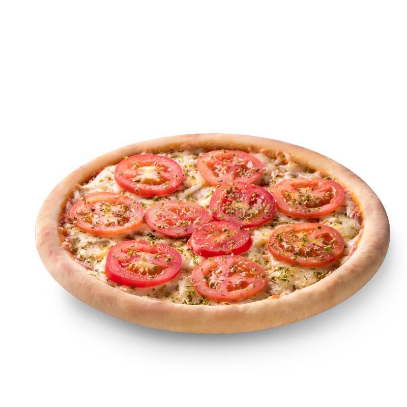 Pizza mit dem Käse und Tomate lokalisiert auf weißem Hintergrund Draufsicht Pizza-Margarita stockfotografie
