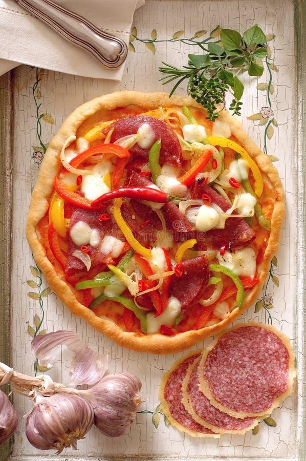 Pizza mit Pepperonis und Salami stockfotos