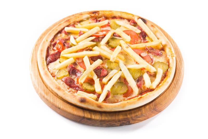 Pizza mit Pommes-Frites, Tomate und Fleisch, Ketschup lizenzfreie stockfotos