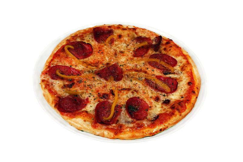 Pizza mit Wurst lizenzfreies stockbild