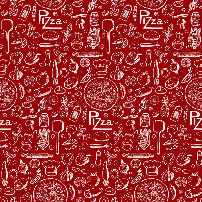 Pizza Modelo dibujado mano inconsútil del garabato ilustración del vector