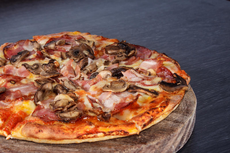 Pizza with mushroom royalty free stock photography