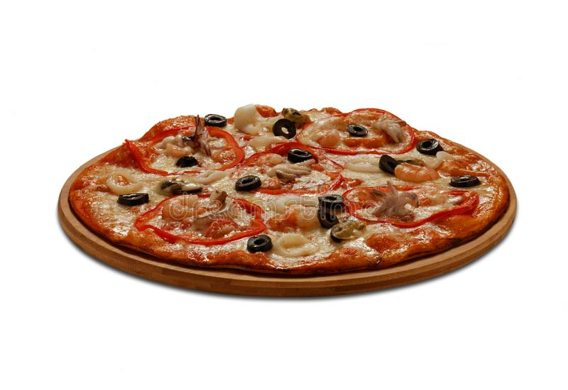 Pizza with mussel, calmars, shrimps and octopus. On white backgr stock photography