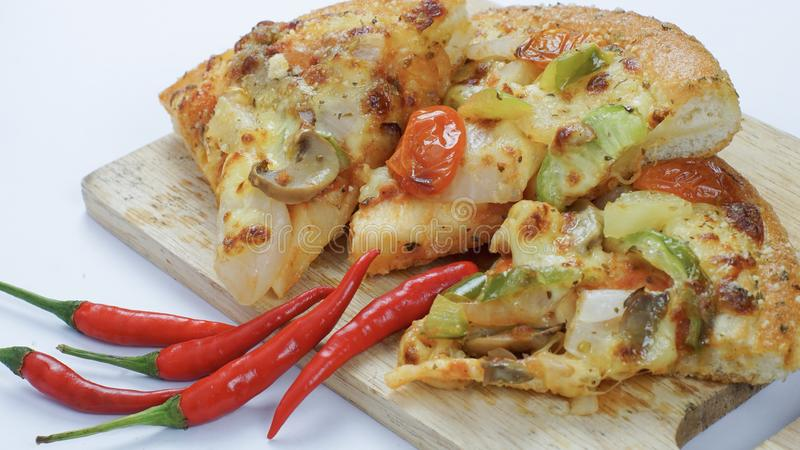 Pizza is my favorite fast food in my urgent day. stock image