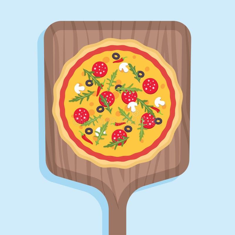 Pizza na drewnianej łopacie dla kuchenki royalty ilustracja