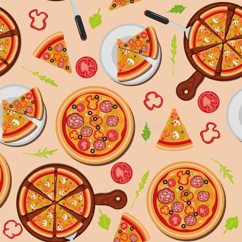 Pizza Naadloos Patroon met Ingrediënten stock illustratie