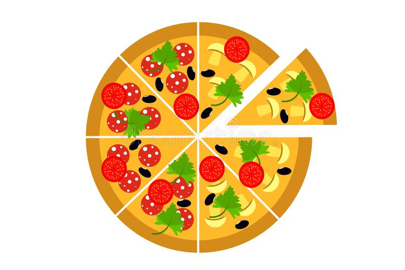 Pizza Nahrungszufuhr lizenzfreie abbildung