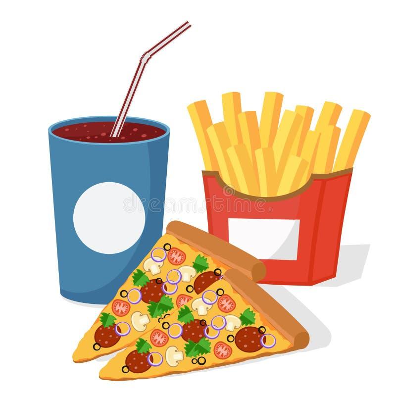 Pizza napój w rozporządzalnej filiżance i francuzów dłoniakach royalty ilustracja