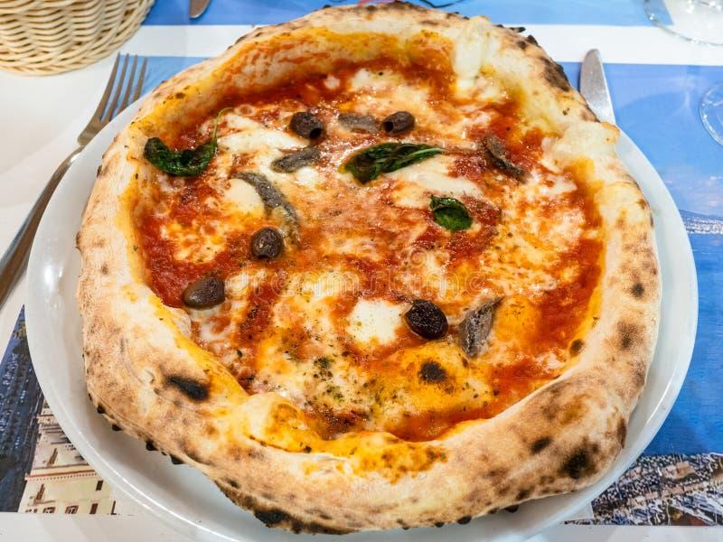 pizza Napoli met ansjovissen, basilicum en olijven royalty-vrije stock afbeelding
