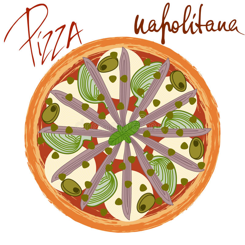 Pizza napolitana image. On white background with handwritten caption. Vector illustration eps 10 vector illustration