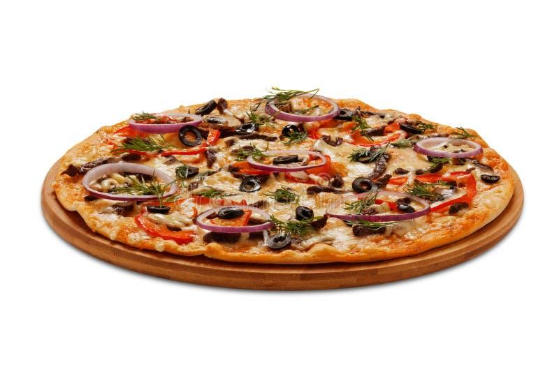 Pizza Neapolitana auf Weiß stockfotografie
