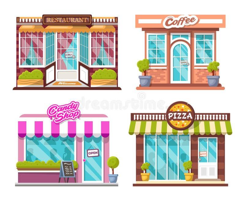 Pizza, negozio della caramella, caffè, ristorante, cespugli, logos, finestre con le ombre della gente immagini stock libere da diritti