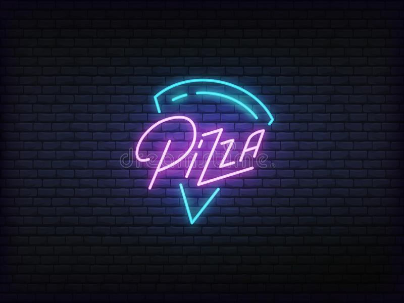 Pizza neon glowing sign. Bright vector label of pizza slice and lettering stock illustration