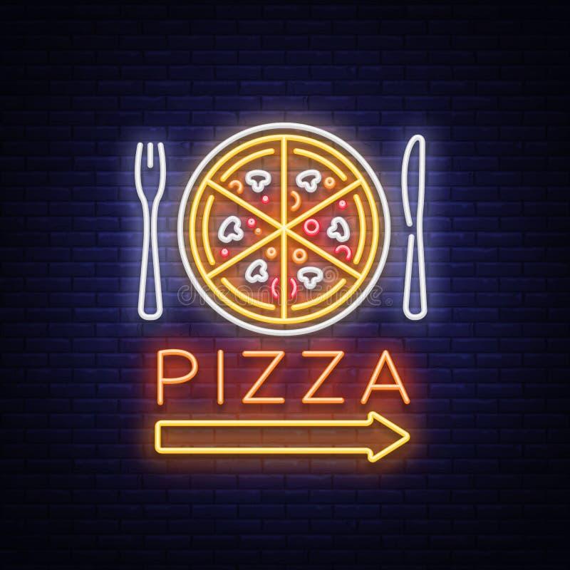 Pizza neonowego znaka wektor Pizzeria neonowy logo, emblemat Neonowa reklama na temacie pizzy kawiarnia, restauracja, jadalnia royalty ilustracja