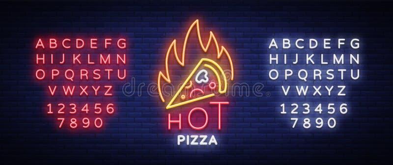 Pizza neonowego znaka wektor Pizzeria neonowy logo, emblemat Neonowa reklama na temacie pizzy kawiarnia, restauracja, jadalnia ilustracja wektor