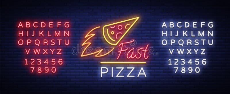 Pizza neonowego znaka wektor Pizzeria neonowy logo, emblemat Neonowa reklama na temacie pizzy kawiarnia, restauracja, jadalnia ilustracji