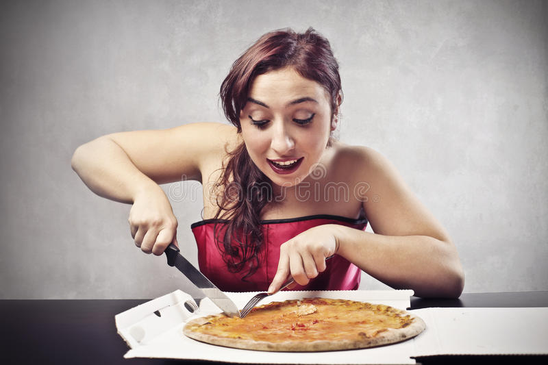 Download Pizza by Night stock illustration. Image of girl, table - 27695907