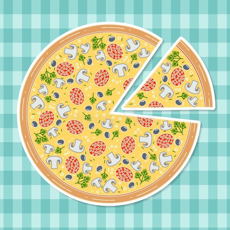 Pizza no estilo liso ilustração stock