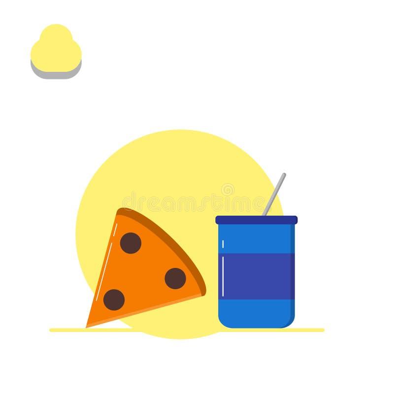 Pizza- och drinkillustration - vektor stock illustrationer