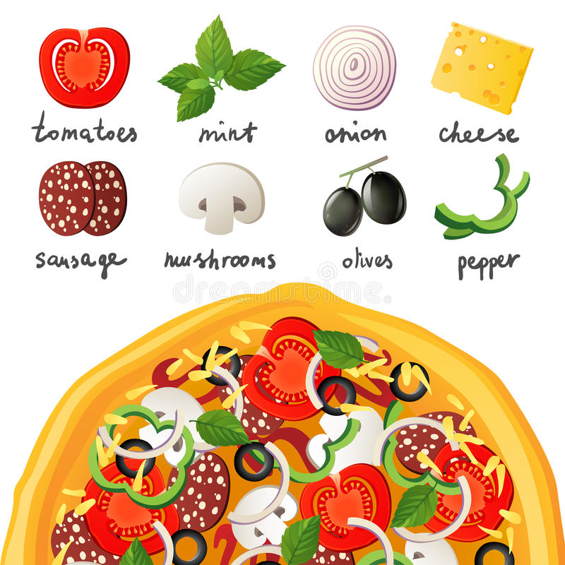 Pizza och ingredienser royaltyfri illustrationer