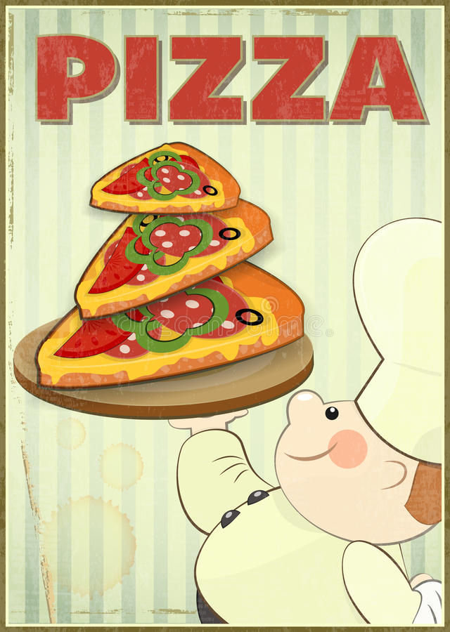 Pizza och kock stock illustrationer