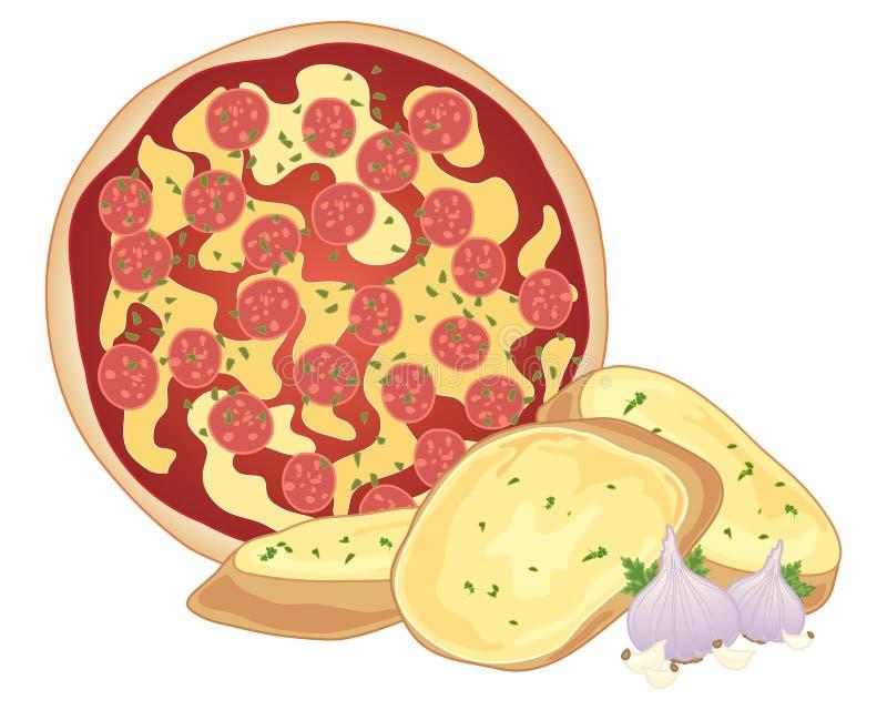 Pizza- och vitlökbröd stock illustrationer