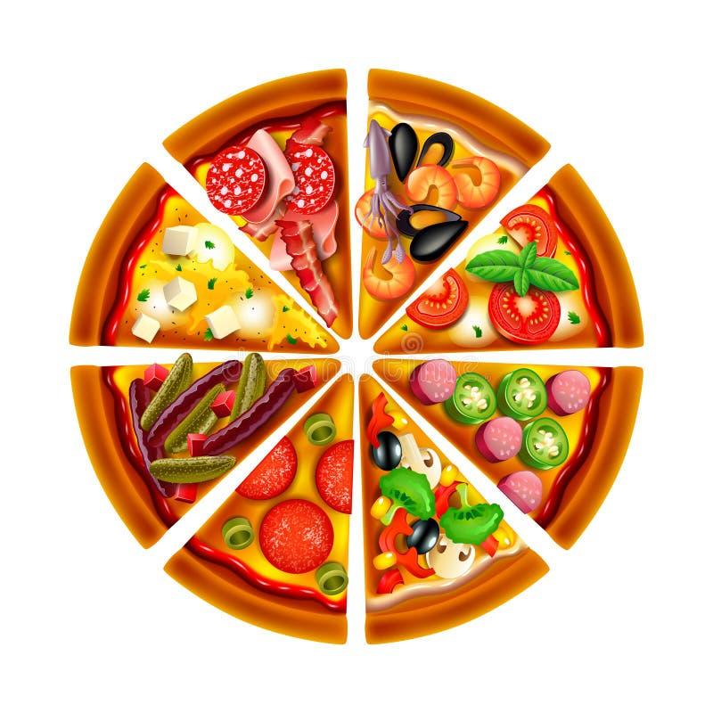 Pizza od różnych plasterków odgórnego widoku odizolowywał wektor royalty ilustracja