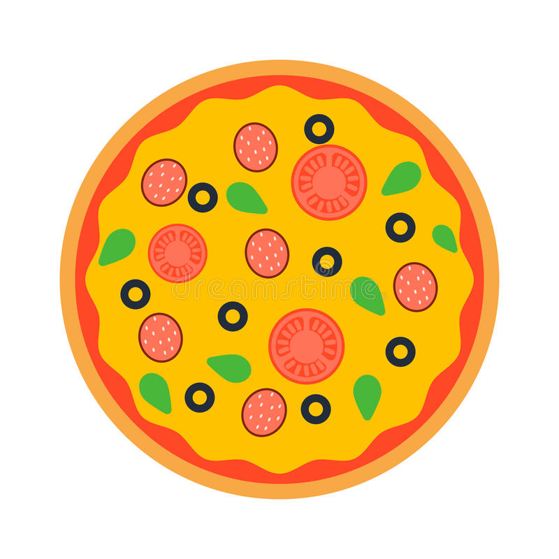 Pizza odgórnego widoku wektor ilustracji