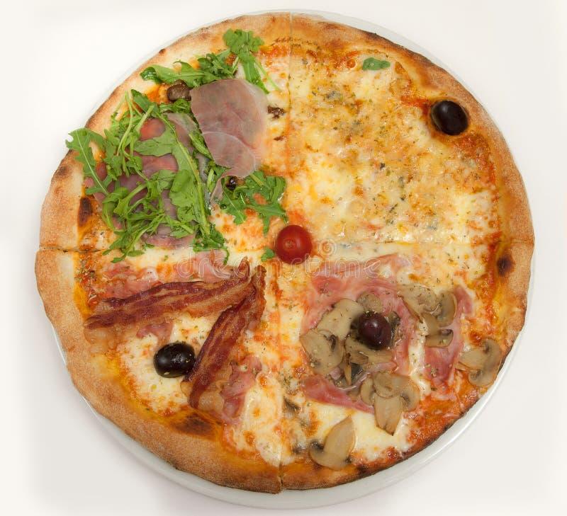 Pizza Odgórny widok obraz royalty free