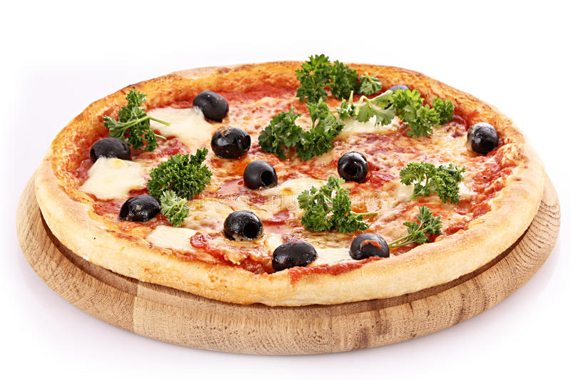 Pizza with olives isolated royalty free stock images