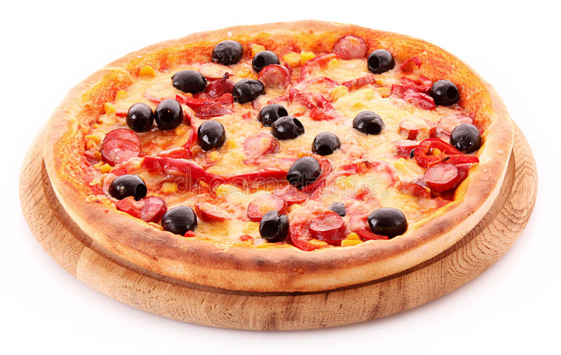 Download Pizza With Olives On Wooden Plate Isolated Stock Image - Image: 13905767