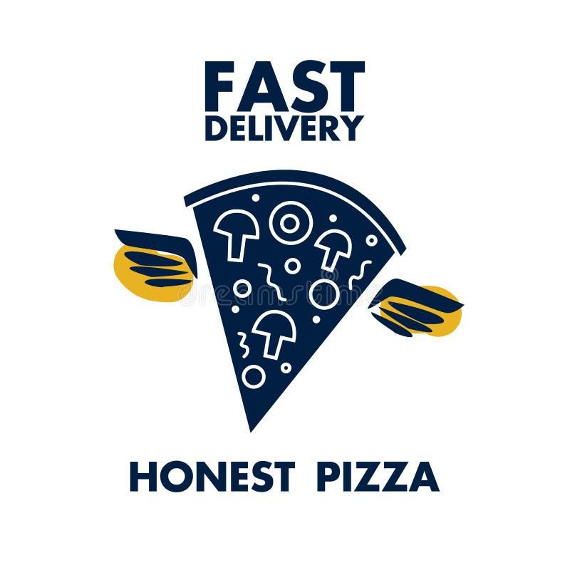 Pizza onesta di consegna veloce con le ali immagini stock libere da diritti