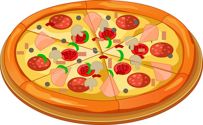 Pizza op de raad vector illustratie
