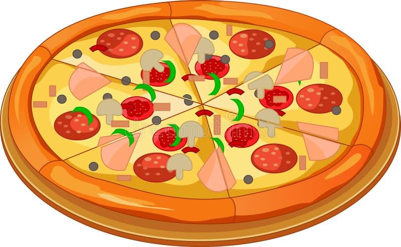 Pizza op de raad vector illustratie