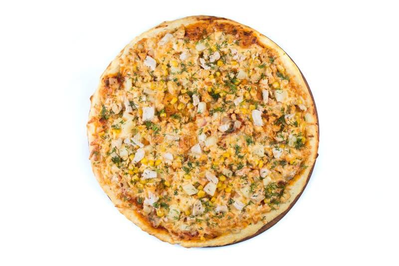 Pizza op lichte houten royalty-vrije stock foto