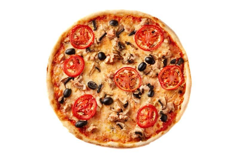 Pizza op lichte houten hoogste mening als achtergrond Dunne gebakjekorst op houten bureau royalty-vrije stock foto's