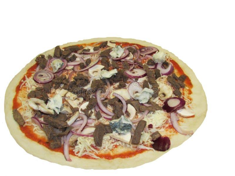 Pizza op witte achtergrond, heerlijke pizza wordt geïsoleerd die stock foto's