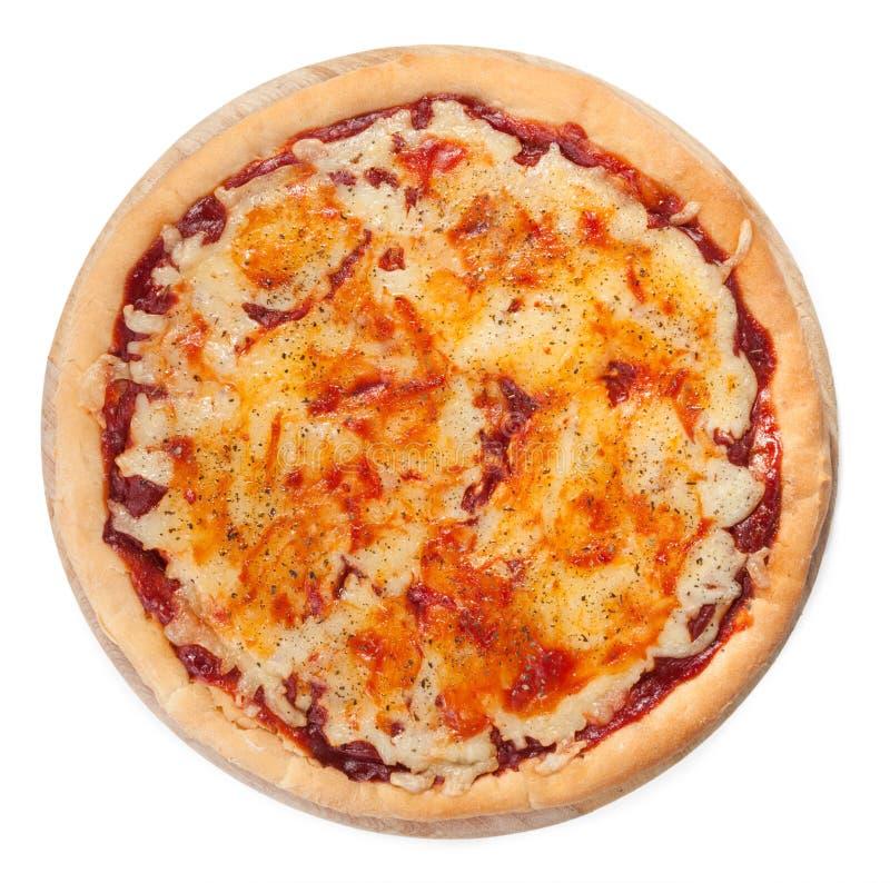 Pizza op witte hoogste mening stock afbeeldingen
