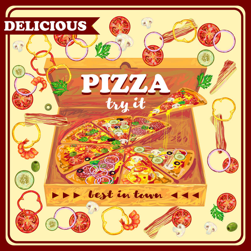 Pizza In Open Box Design. With vegetables seafood meat on beige background with red frame vector illustration vector illustration