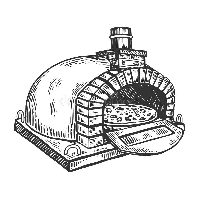 Pizza oven engraving vector illustration. Scratch board style imitation. Black and white hand drawn image royalty free illustration