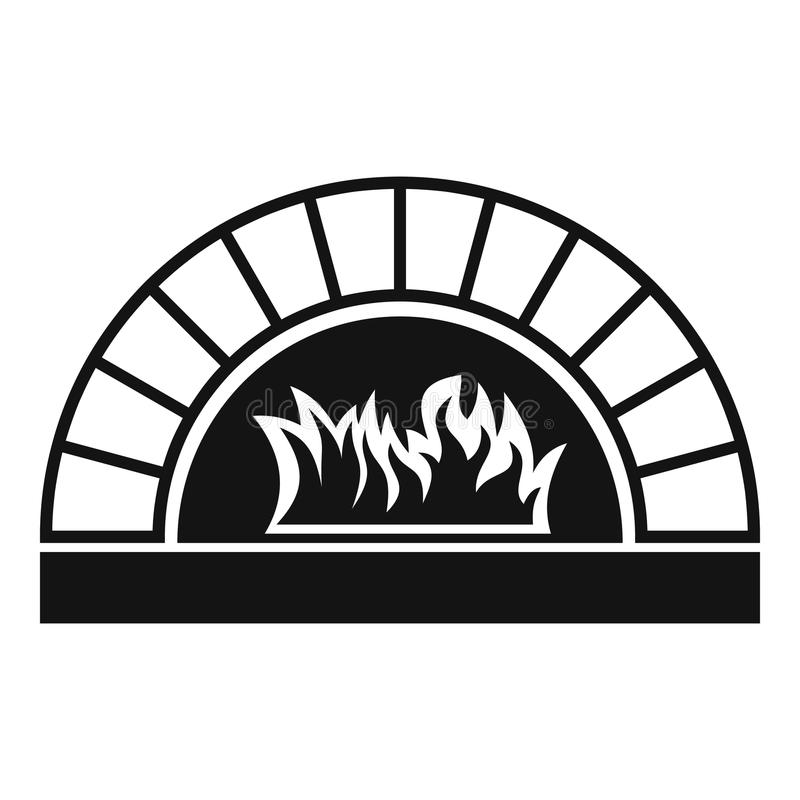 Pizza oven with fire icon, simple style stock illustration