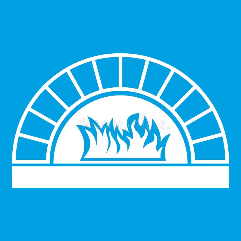 Pizza oven with fire icon white. Isolated on blue background vector illustration vector illustration