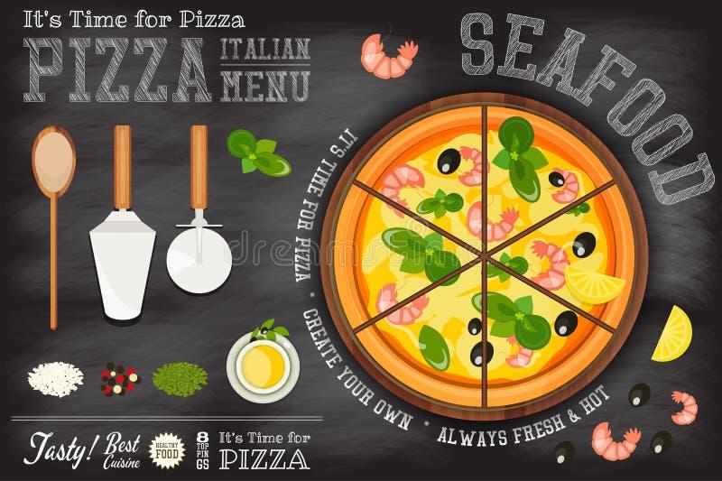 Pizza owoce morza ilustracji