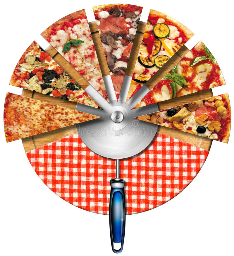 Pizza på skärbrädan royaltyfri illustrationer