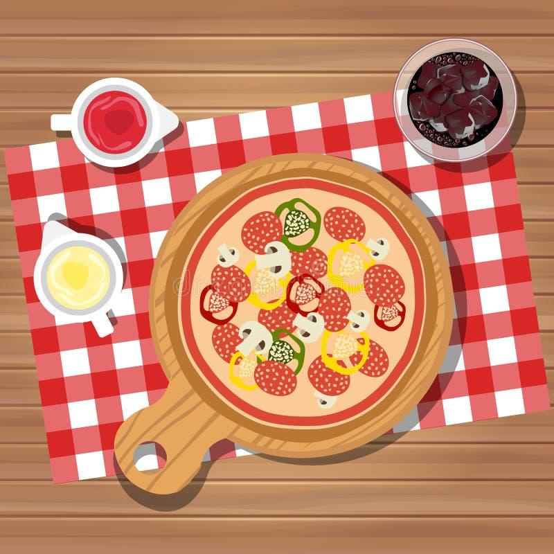 Pizza på tabellen med flaskor av ketchup och majonnäs tjänade som med exponeringsglas av fruktsaft med is Tjänad som matställe på vektor illustrationer