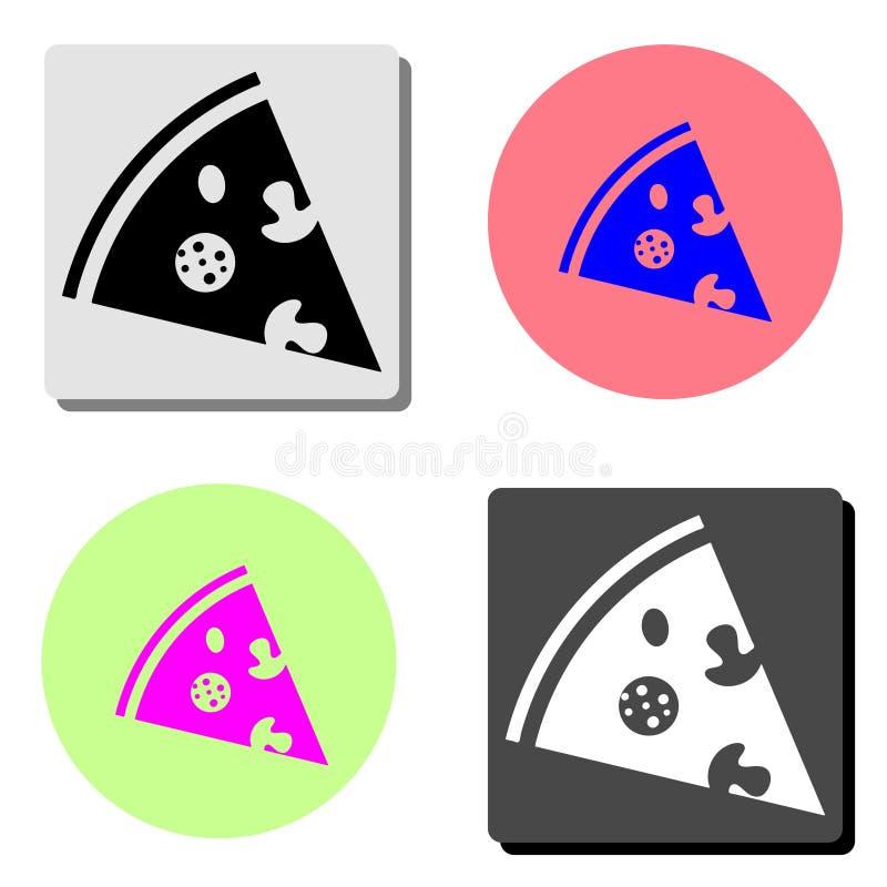 Pizza Płaska ikona ilustracji