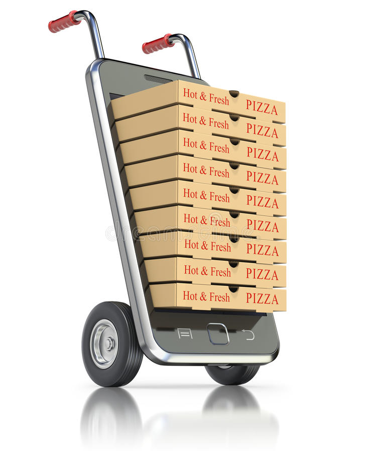 Pizza pakunki w telefonie komórkowym ilustracji