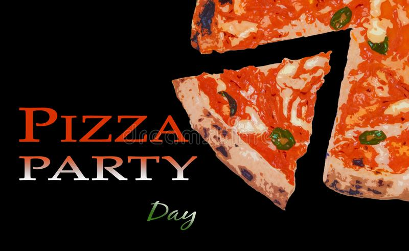 Pizza party day brochure. With traditional pizza margherita, and italian tricolor stock photos